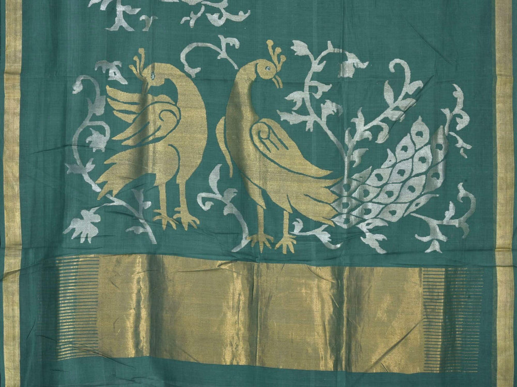 Dark Green Khadi Cotton Handloom Saree with One Side Peacocks Design kh0313