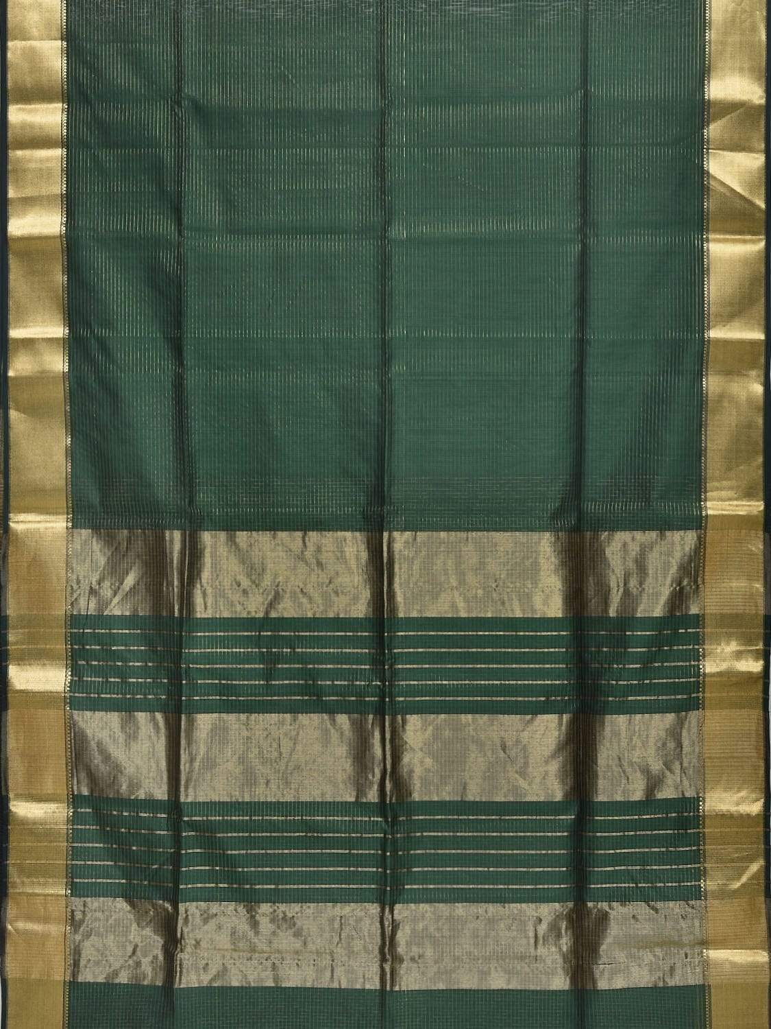 Dark Green Maheshwari Cotton Silk Handloom Saree with Strips Design m0104