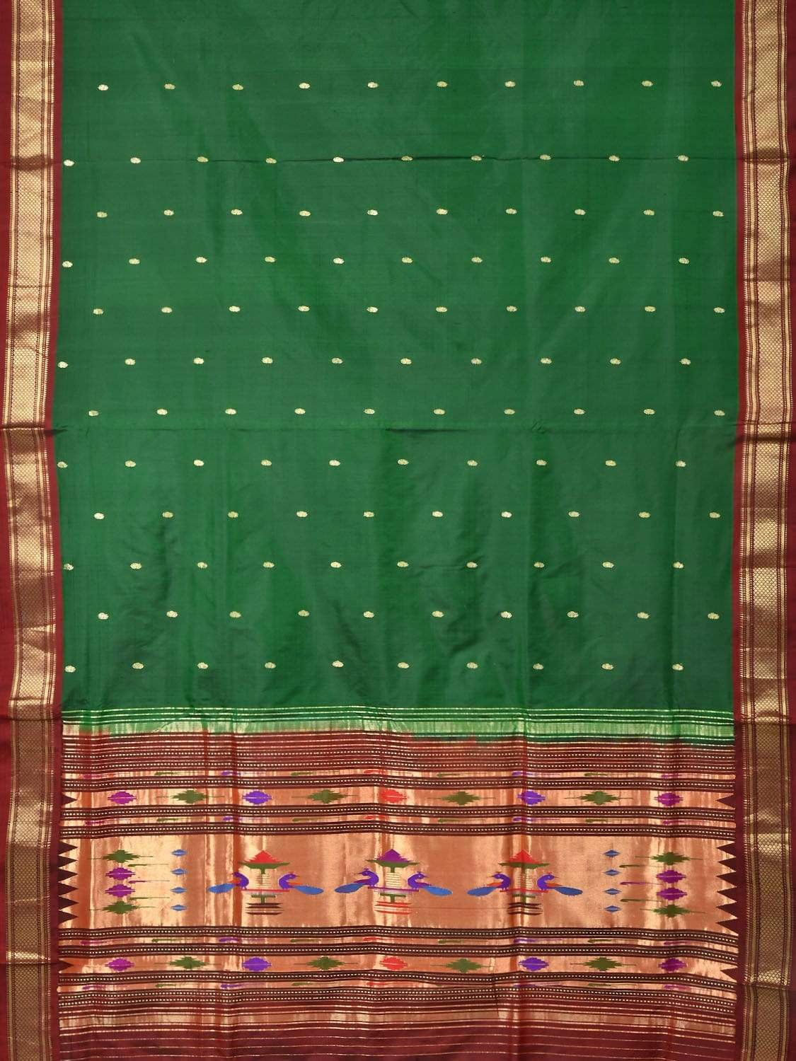 Dark Green Paithani Silk Handloom Saree with Single Pallu Design p0322