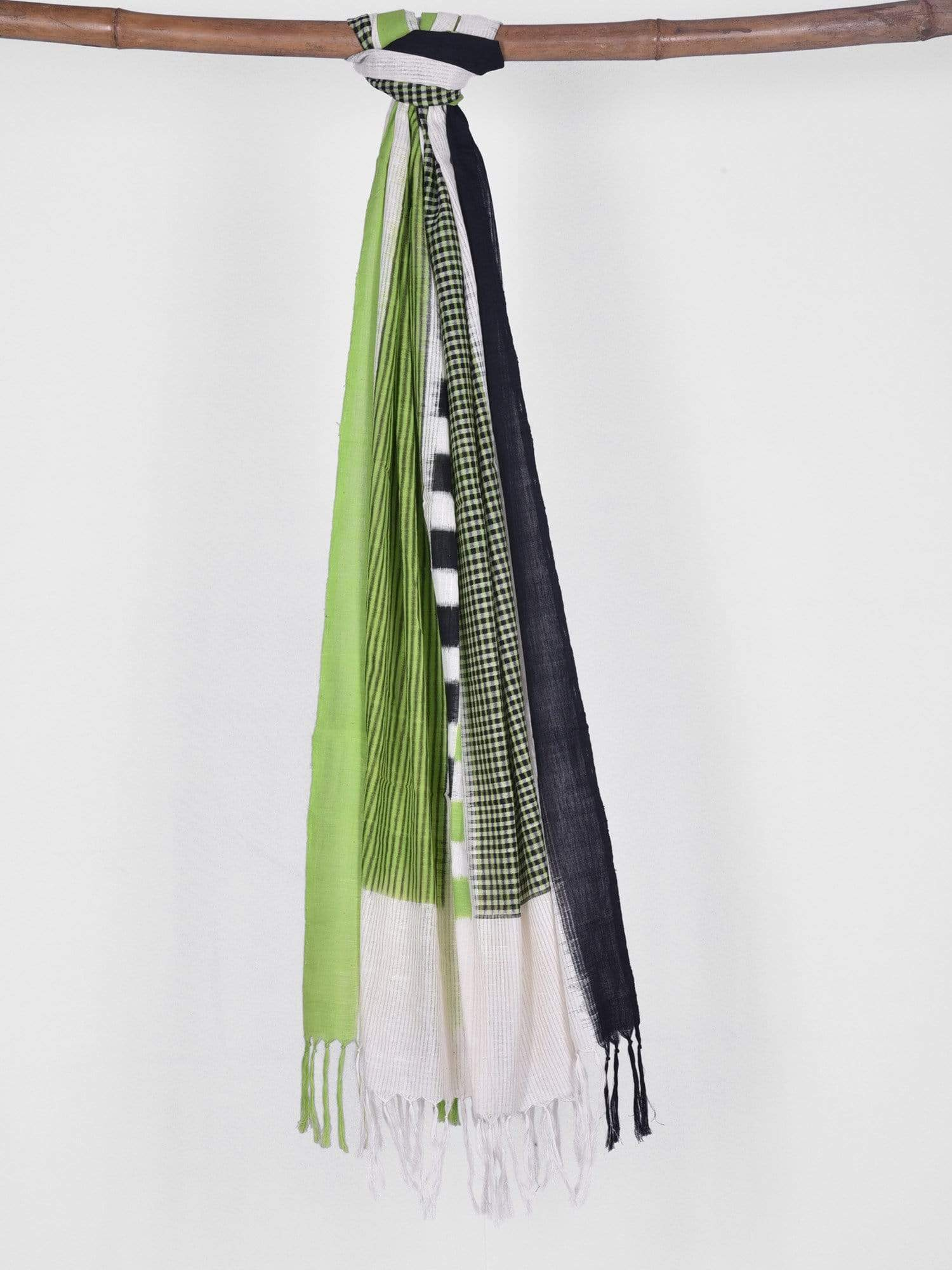 Green and Black Pochampally Ikat Cotton Handloom Dupatta with Middle Checks ds1219