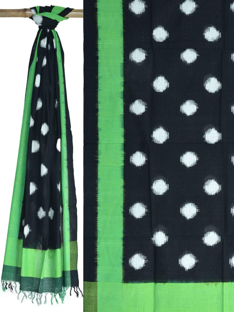 Green and Black Pochampally Ikat Cotton Handloom Dupatta with Polka Dots Design ds1612