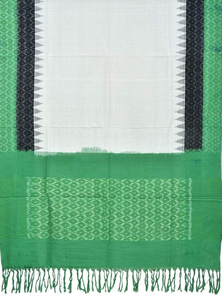 Green and Black Pochampally Ikat Cotton Handloom Dupatta with Temple Border Design ds1829