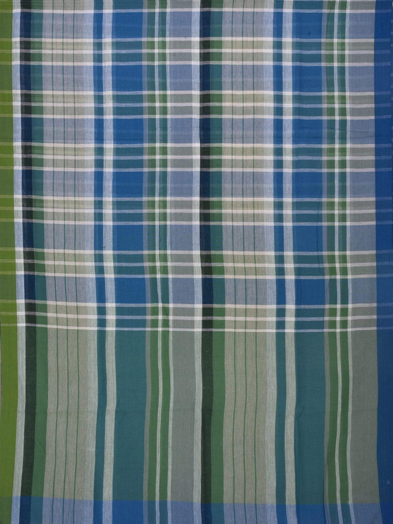 Green and Blue Organic Cotton Handloom Saree with Strips and Checks Design o0160