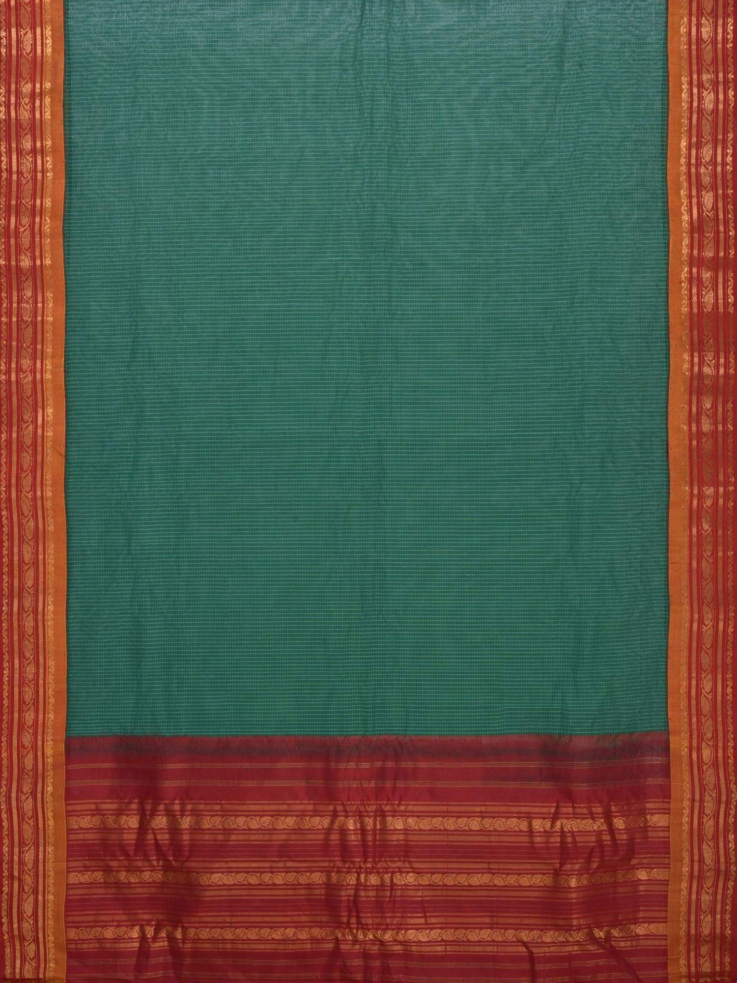 Green and Maroon Gadwal Cotton Handloom Saree with Checks Design No Blouse G0184