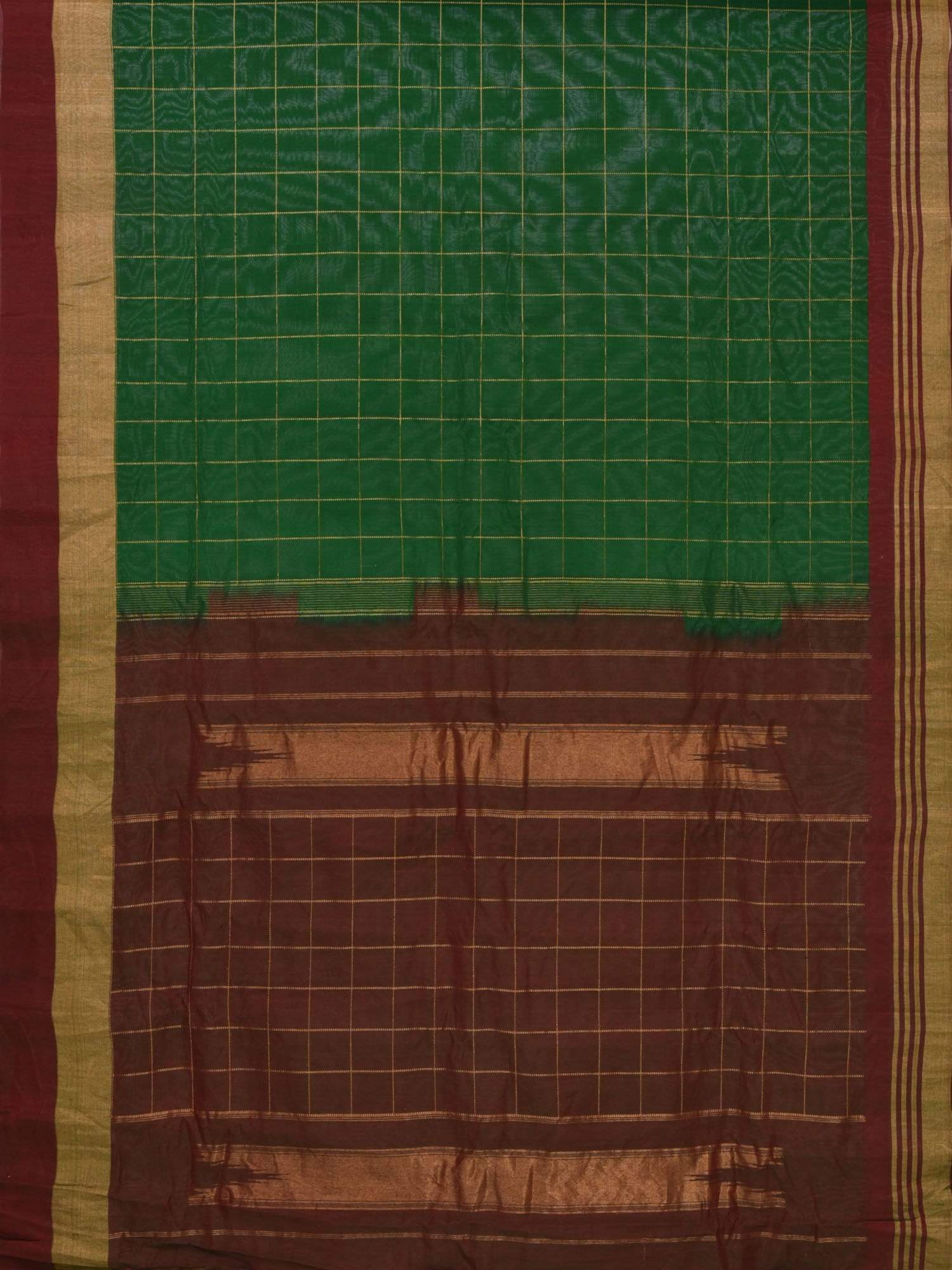 Green and Maroon Gadwal Silk Cotton Handloom Saree with Checks Design G0147