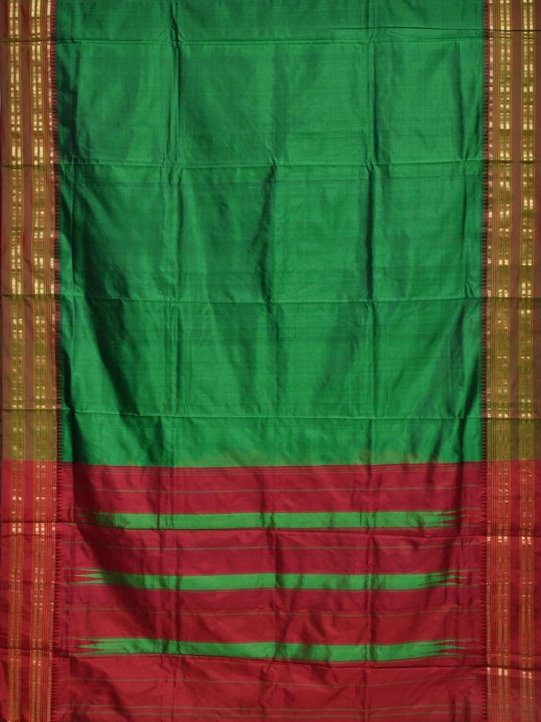 Green and Maroon Narayanpet Silk Handloom Plain Saree with Contrast Pallu Design No Blouse np0241