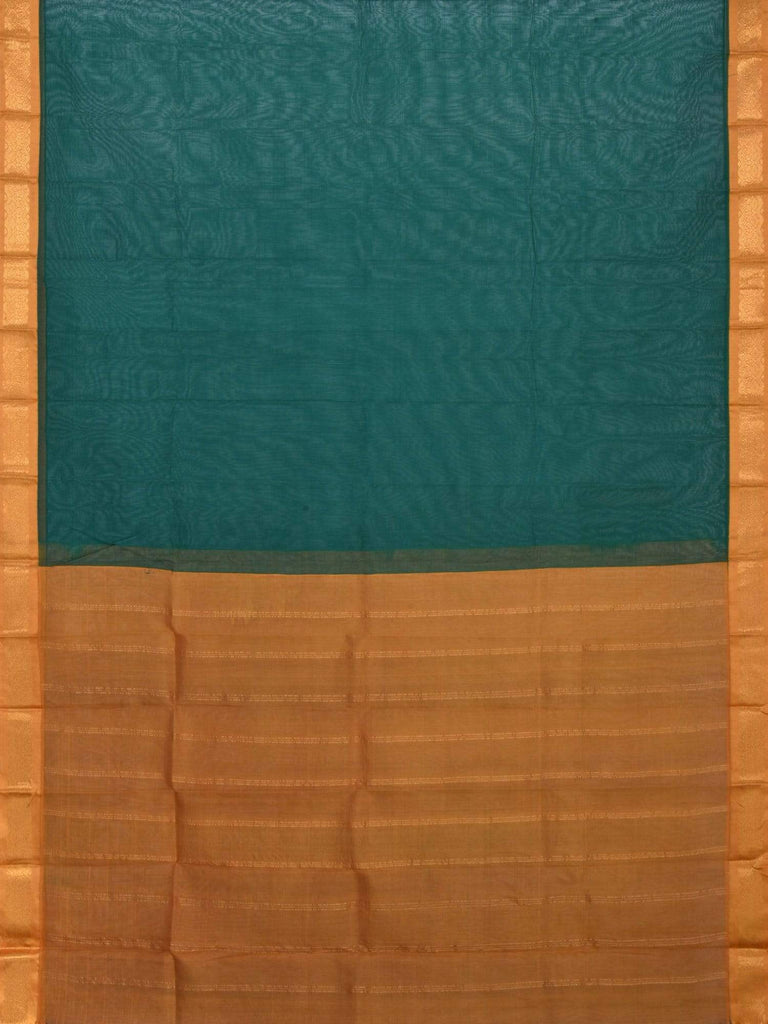 Green and Mustard Gadwal Cotton Handloom Plain Saree G0192