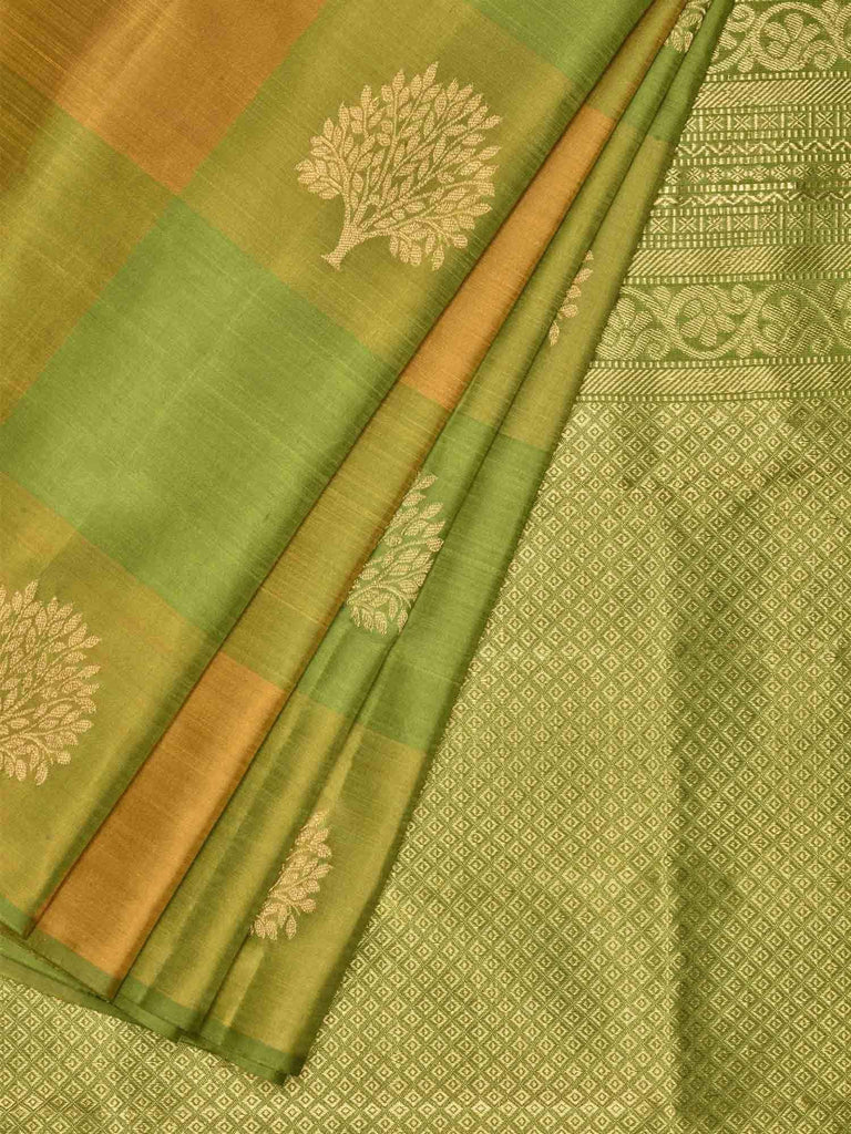 Green and Mustard Kanchipuram Silk Handloom Saree with Checks and Tree Buta Design K0429