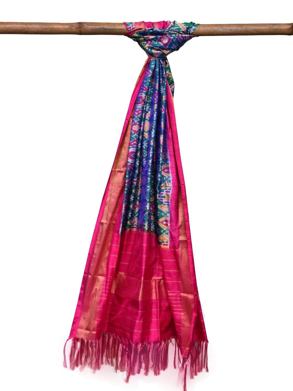 Green and Pink Pochampally Ikat Silk Handloom Dupatta with All Over Design ds2036