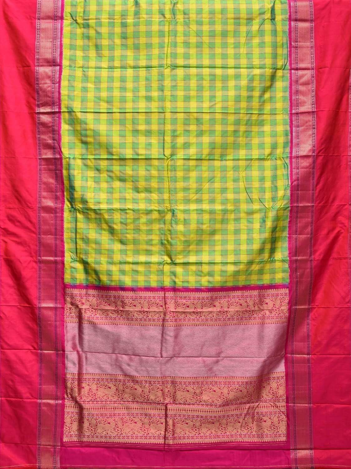 Green and Pink Pochampally Single Ikat Silk Handloom Saree with Kanchipuram Style Design i0559