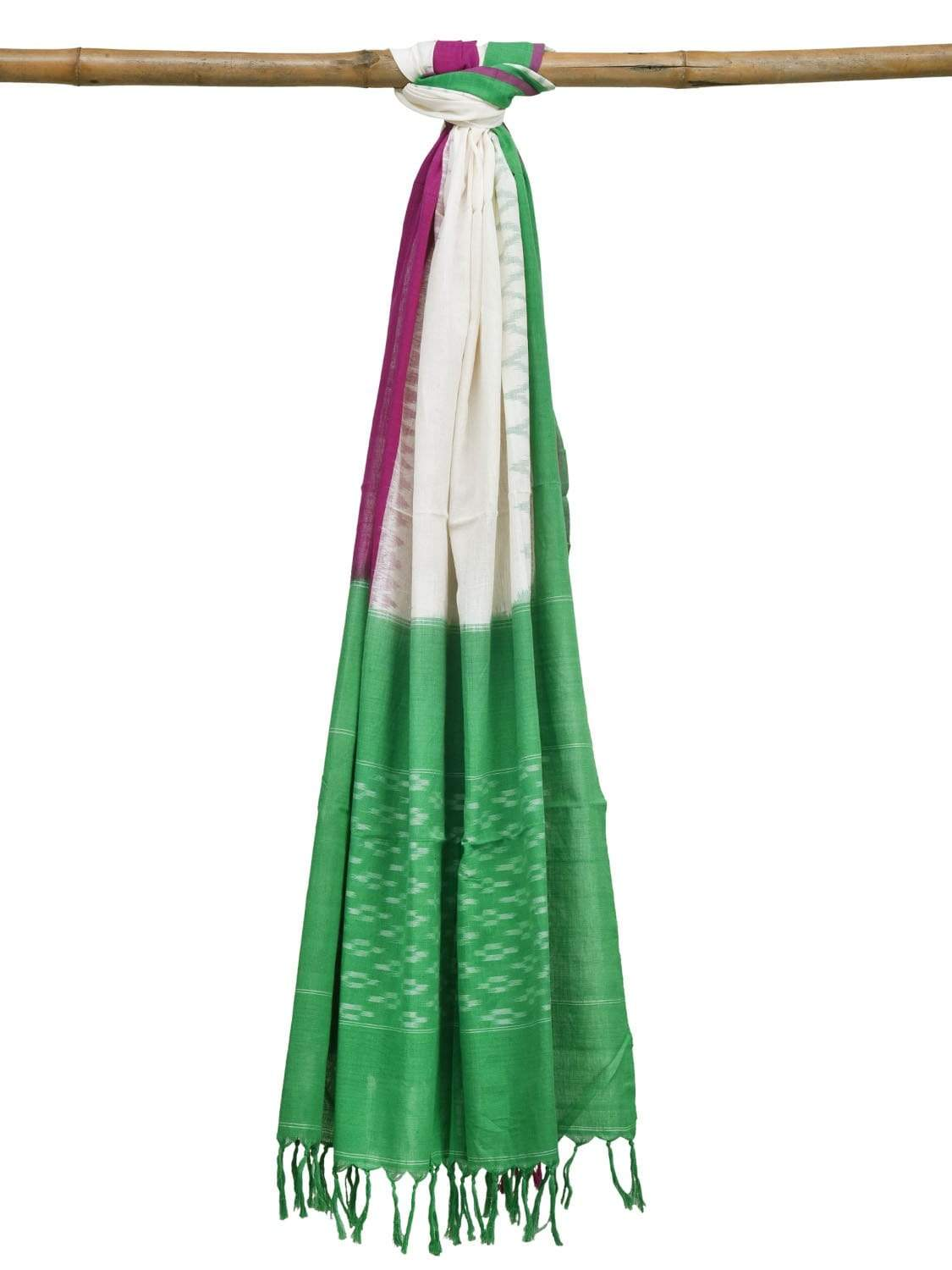 Green and Purple Pochampally Ikat Cotton Handloom Dupatta with Temple Border Design ds1893