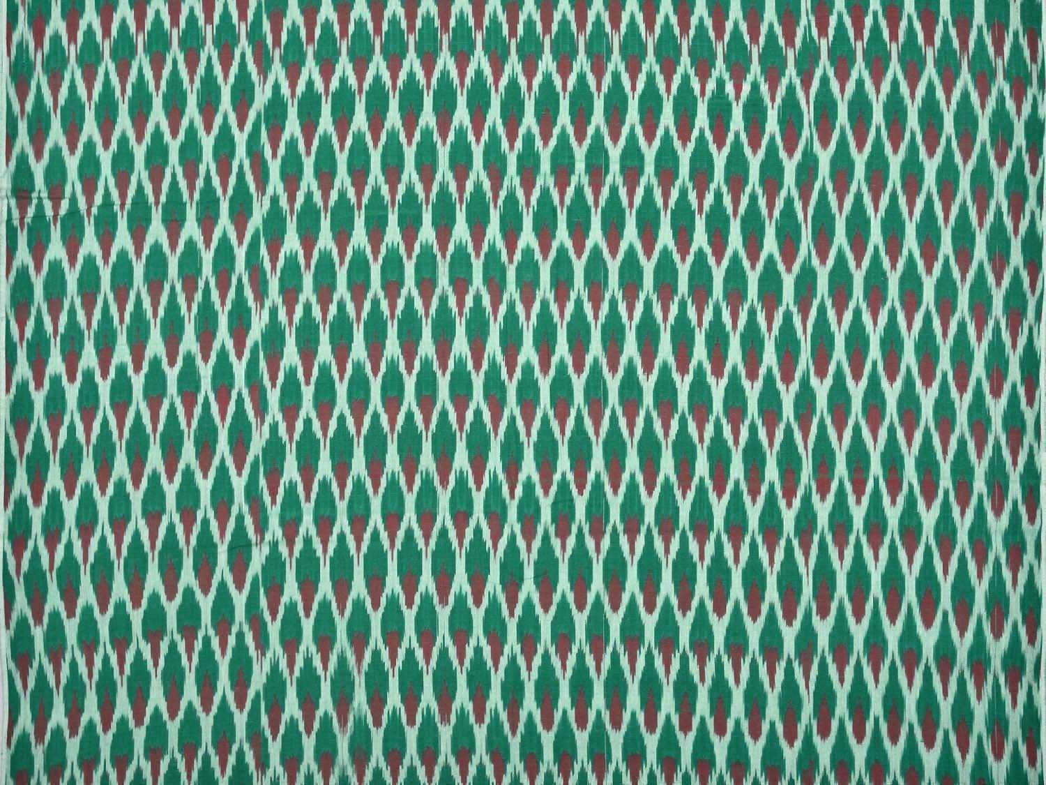 Green and Red Pochampally Ikat Cotton Handloom Fabric Material with Grill Design f0136