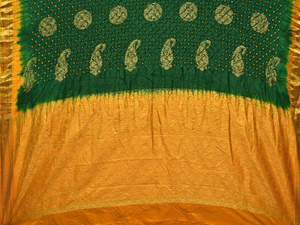 Green and Yellow Bandhani Gadwal Silk Handloom Saree with Mango Pallu Design bn0065