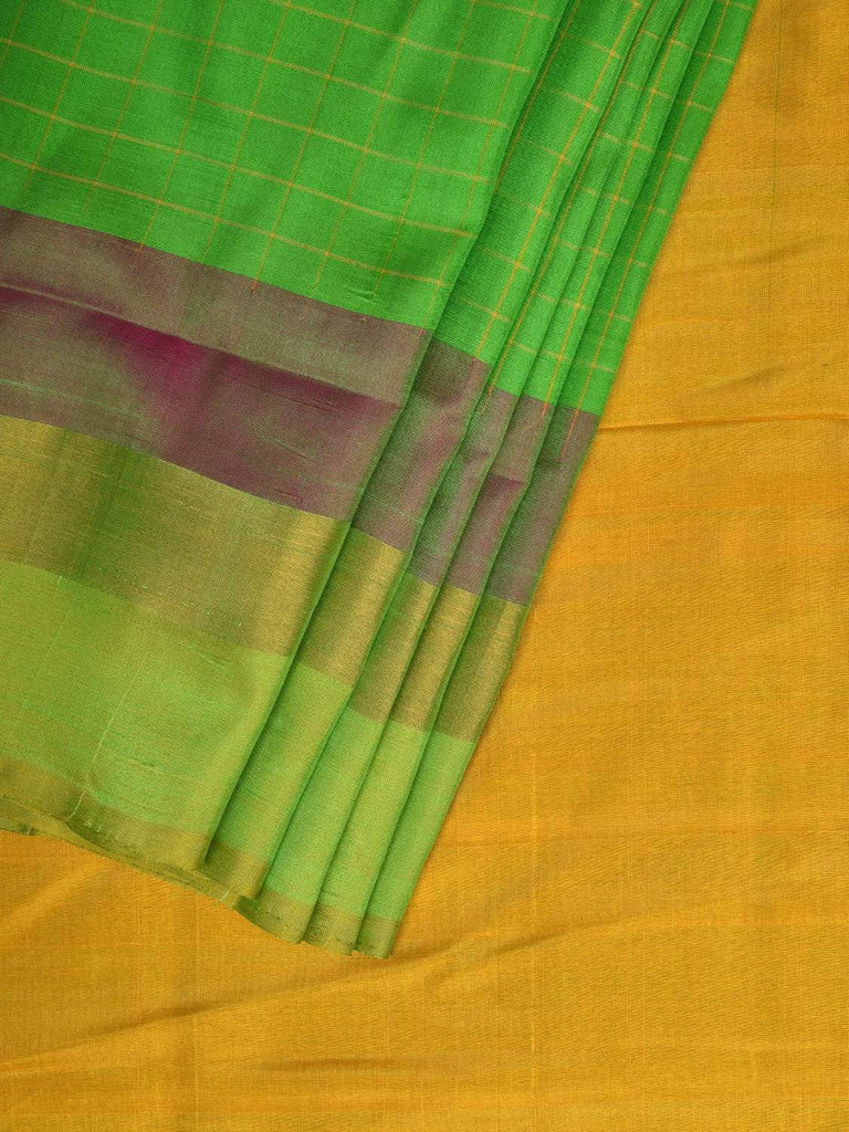 Green and Yellow Uppada Silk Handloom Saree with Checks and Contrast Pallu Design u1730