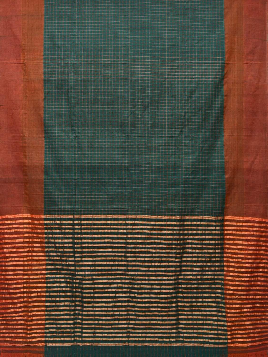 Green Cotton Handloom Saree with All Over Checks Design o0279