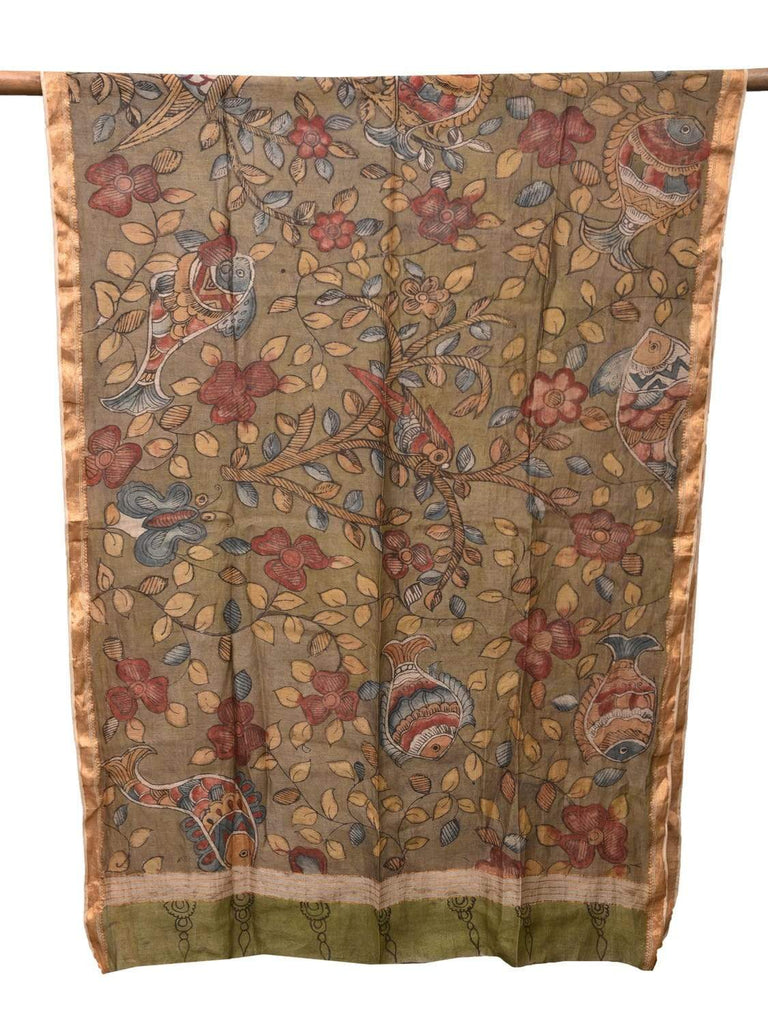 Green Kalamkari Hand Painted Cotton Silk Handloom Dupatta with Fishes and Birds Design ds2158