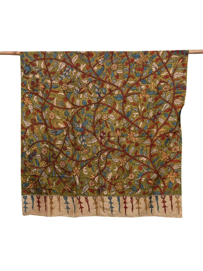 Green Kalamkari Hand Painted Silk Dupatta with Flowers and Leaves Design ds2097