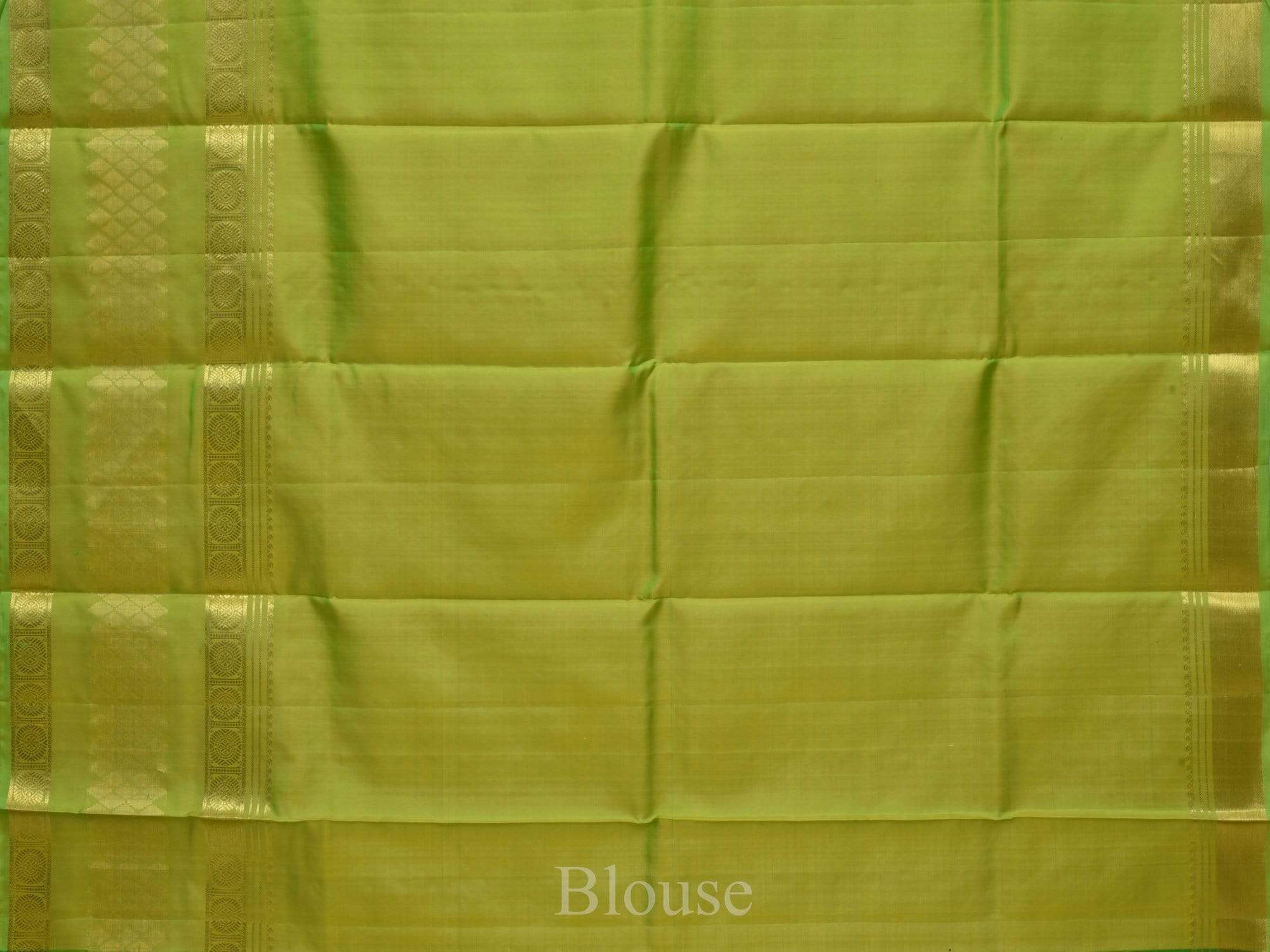 Green Kanchipuram Silk Handloom Saree with Checks and Border Design K0221