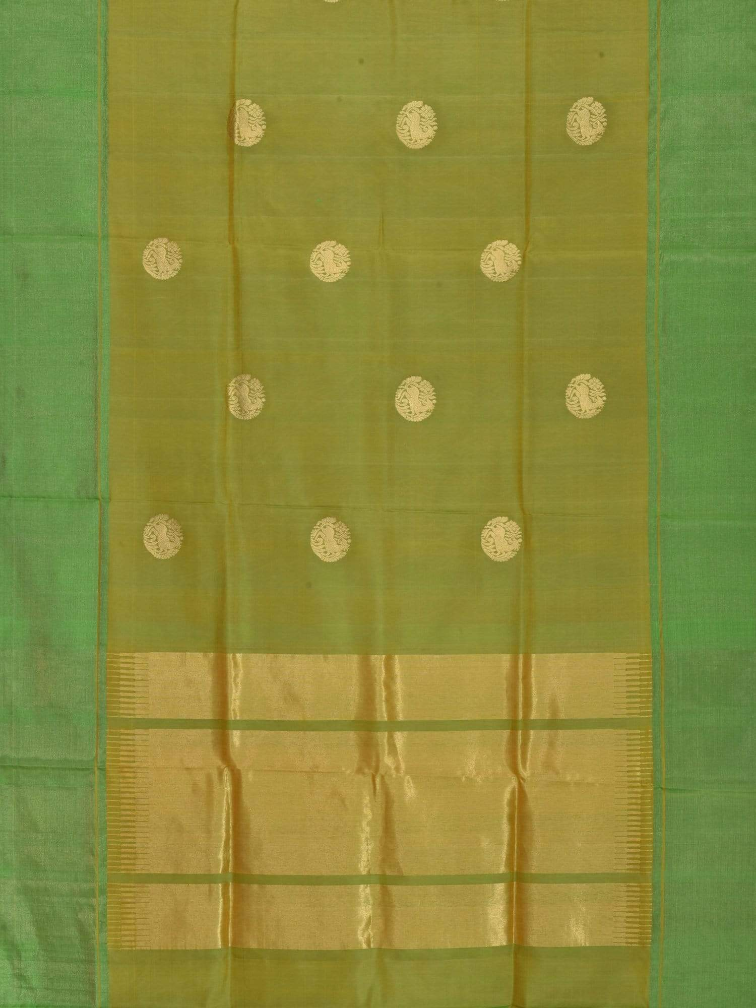 Green Kanchipuram Silk Handloom Saree with Shikari Buta Design K0306