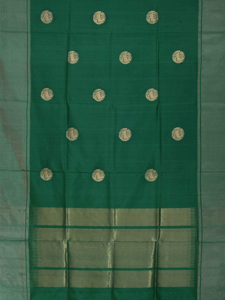 Green Kanchipuram Slik Handloom Saree with Shikari Design K0275