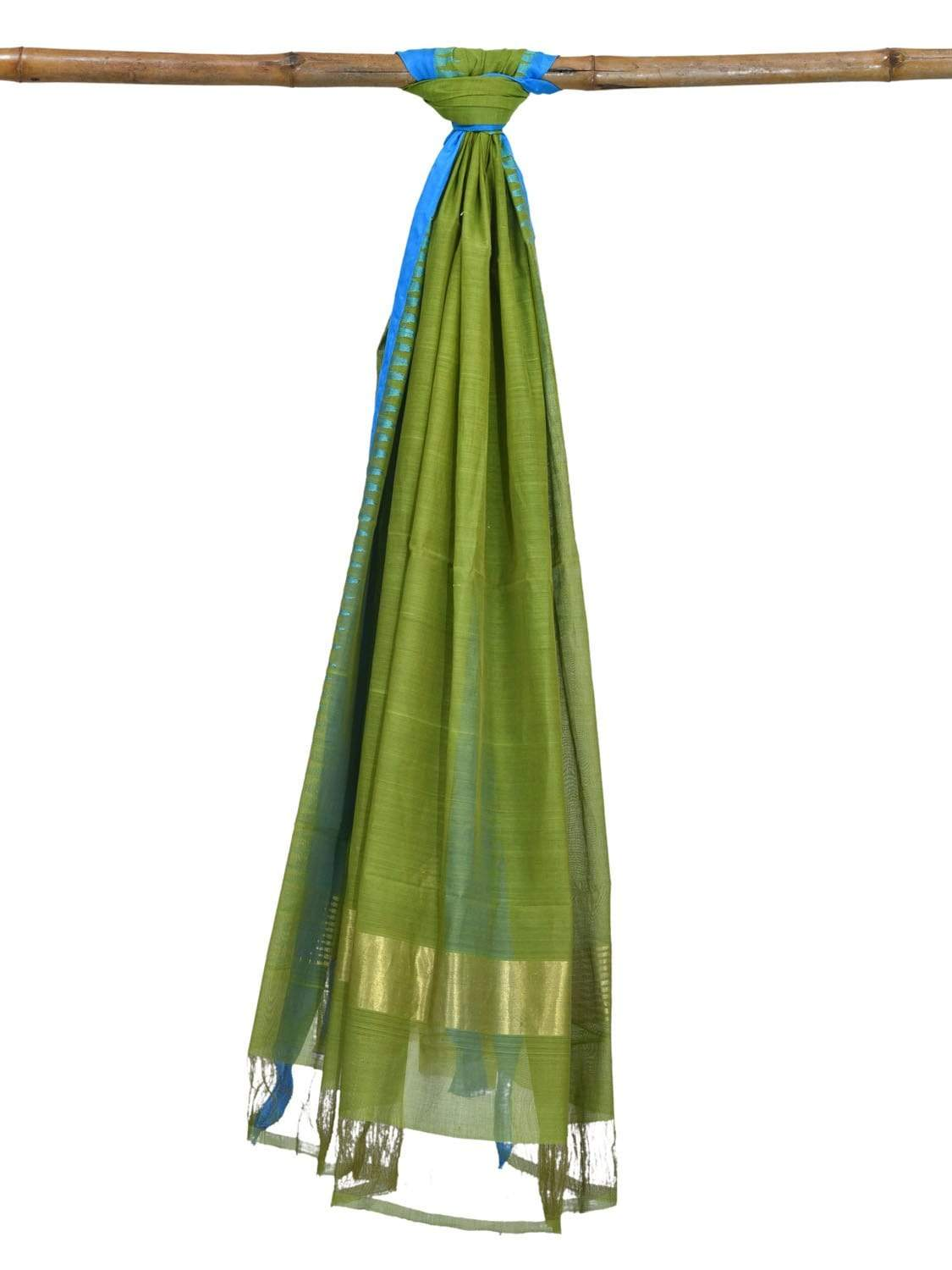Green Khadi Cotton Handloom Dupatta with Silk Temple Border ds1855