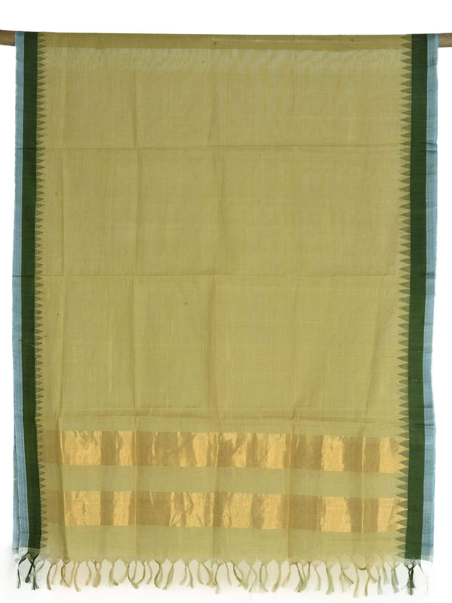 Green Khadi Cotton Handloom Dupatta with Temple Border ds1641