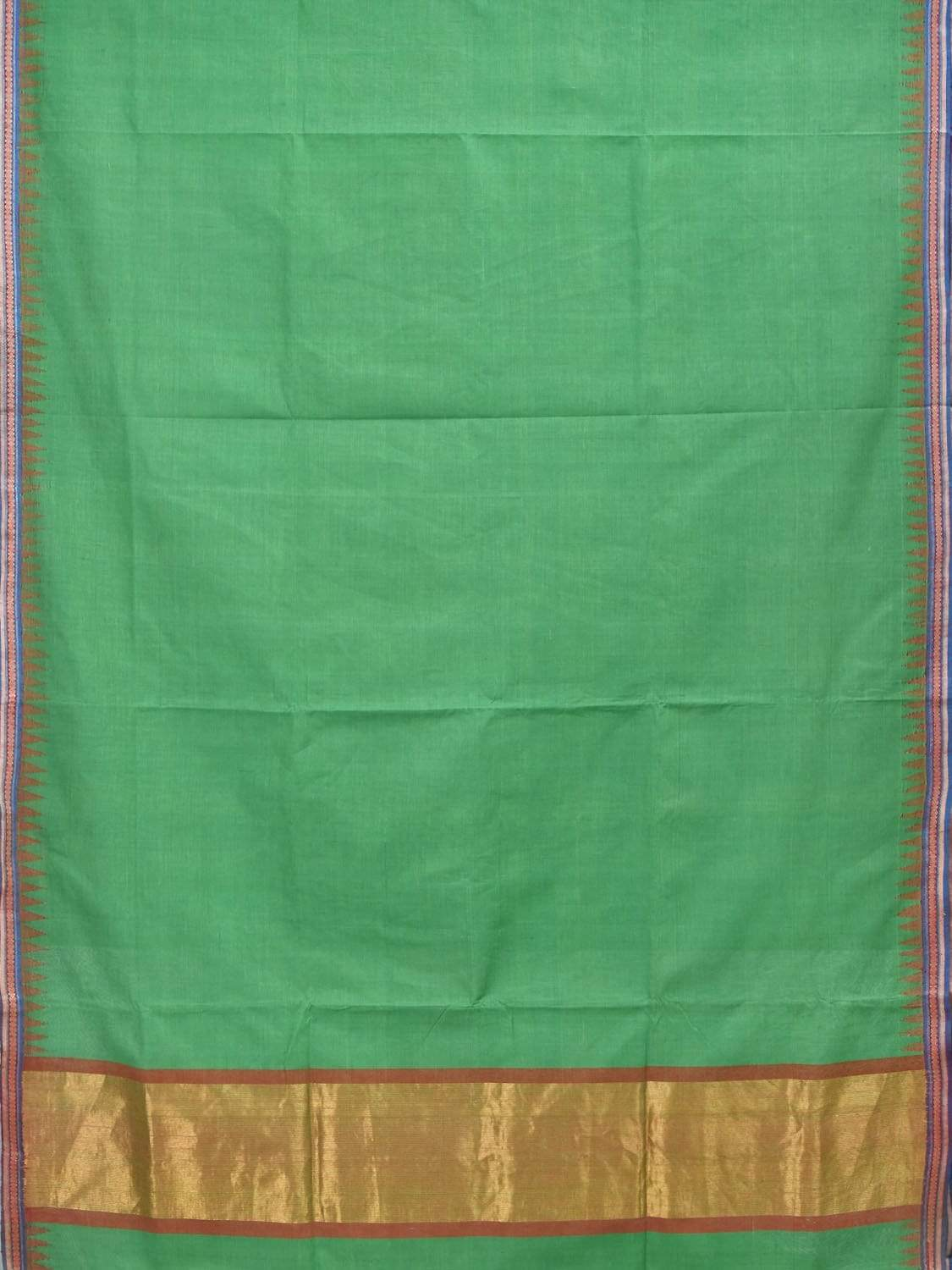 Green Khadi Cotton Handloom Plain Saree with Doby Border Design Kh0436