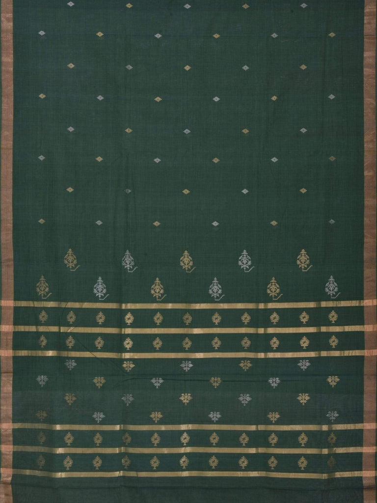 Green Khadi Cotton Handloom Saree with Butas Pallu Design kh0285