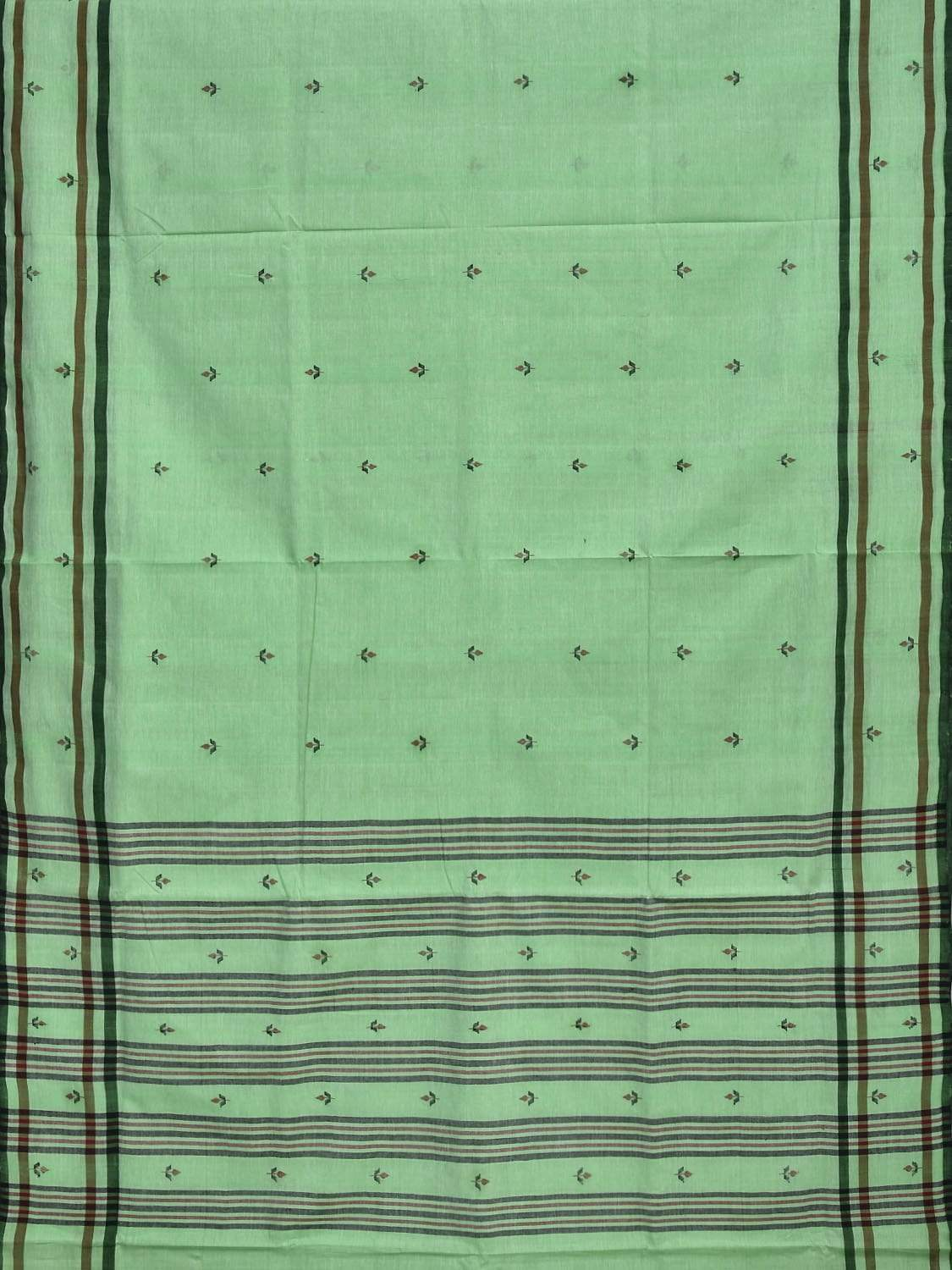 Green Khadi Cotton Handloom Saree with Jamdani Buta Design kh0451
