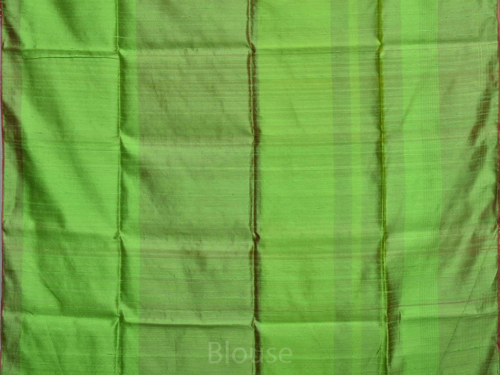 Green Linen Silk Handloom Saree with Strips Body Design L0095