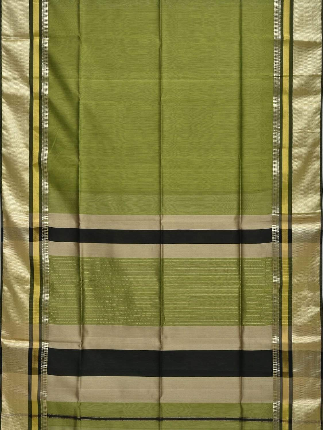 Green Maheshwari Cotton Silk Handloom Plain Saree with Border Design m0109