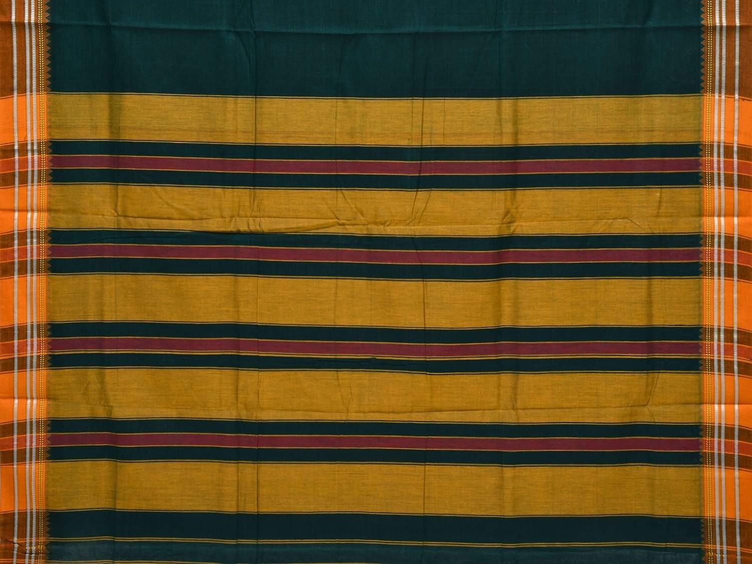 Green Narayanpet Cotton Handloom Plain Saree with Thread Border Design No Blouse np0227