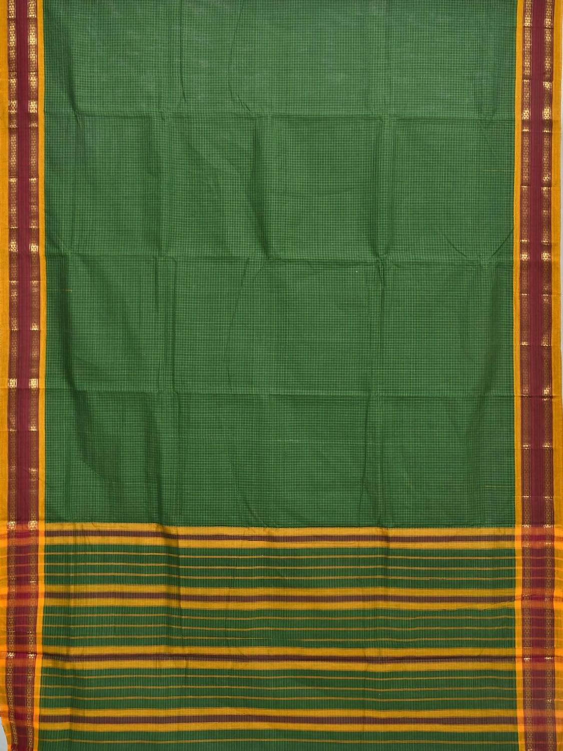 Green Narayanpet Cotton Handloom Saree with Checks and Border Design np0246