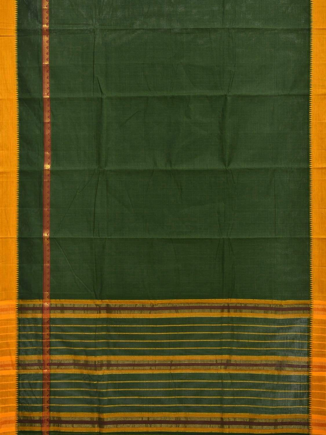Green Narayanpet Cotton Handloom Saree with Checks and One Side Big Border Design No Blouse np0255