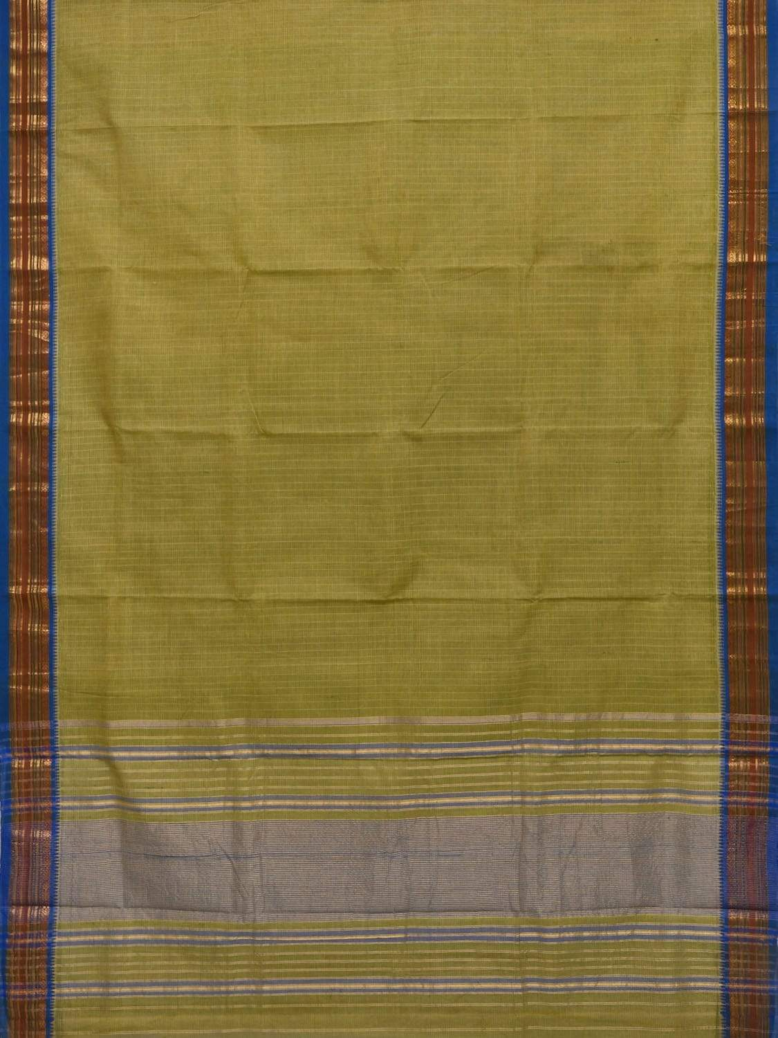 Green Narayanpet Cotton Handloom Saree with Checks Design No Blouse np0232