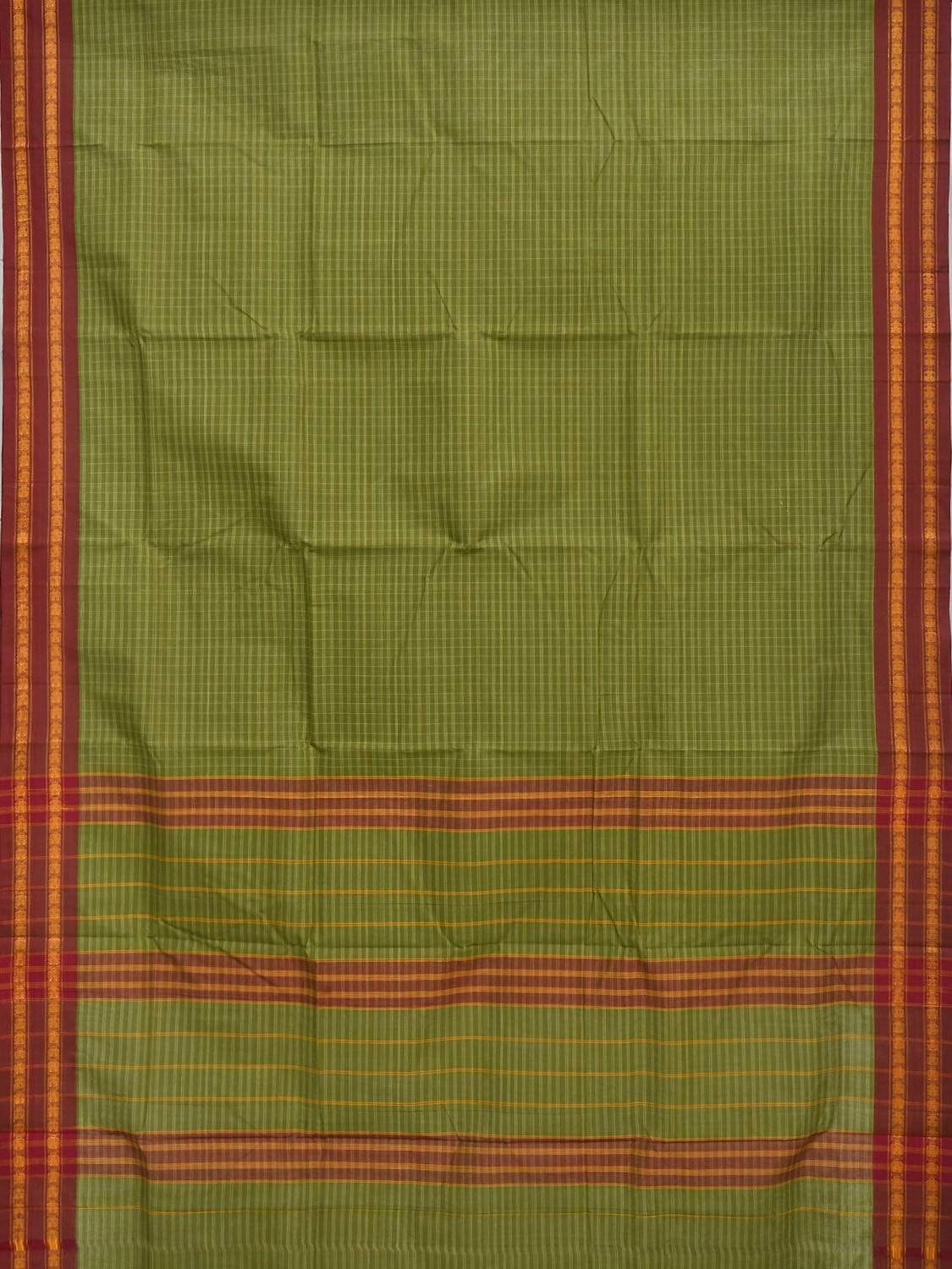 Green Narayanpet Cotton Handloom Saree with Checks Design No Blouse np0253