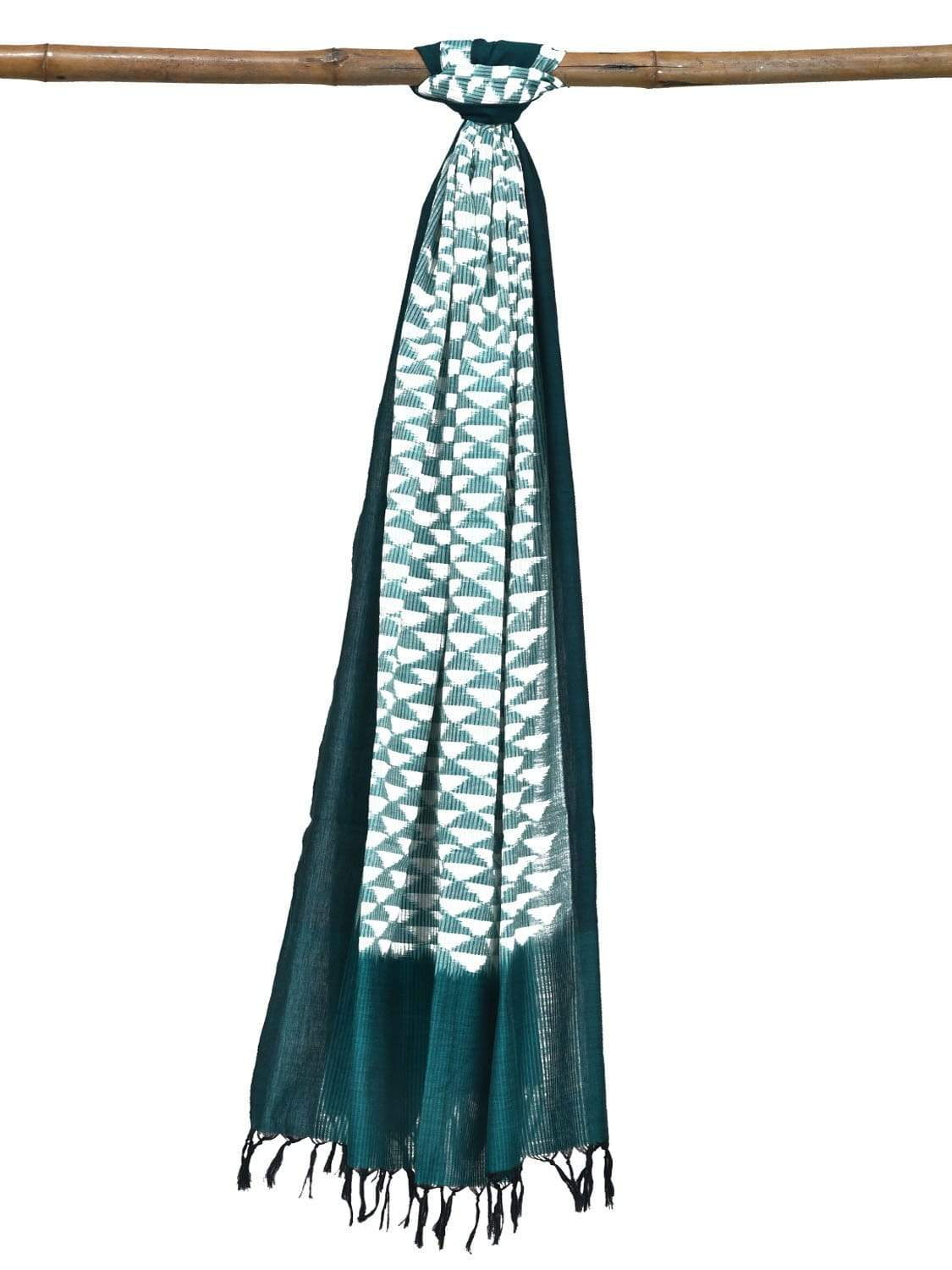 Green Pochampally Ikat Cotton Handloom Dupatta with Small Triangles Design ds1841