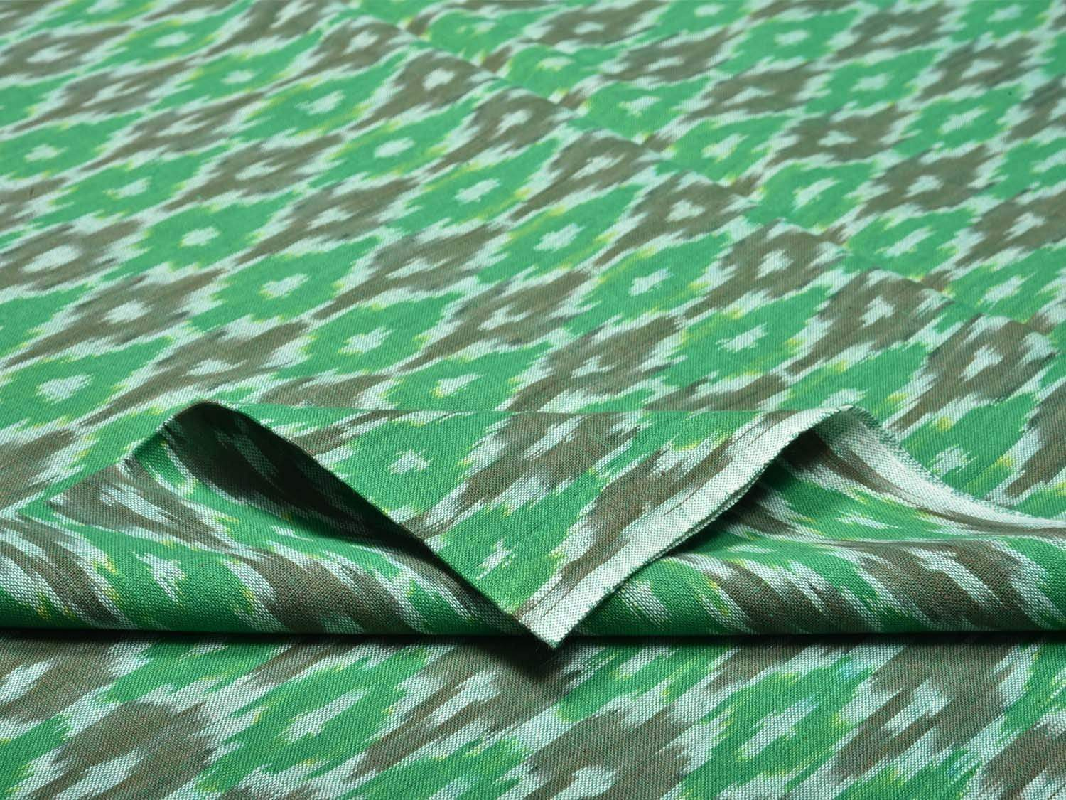Green Pochampally Ikat Cotton Handloom Fabric Material with Grill Design f0145