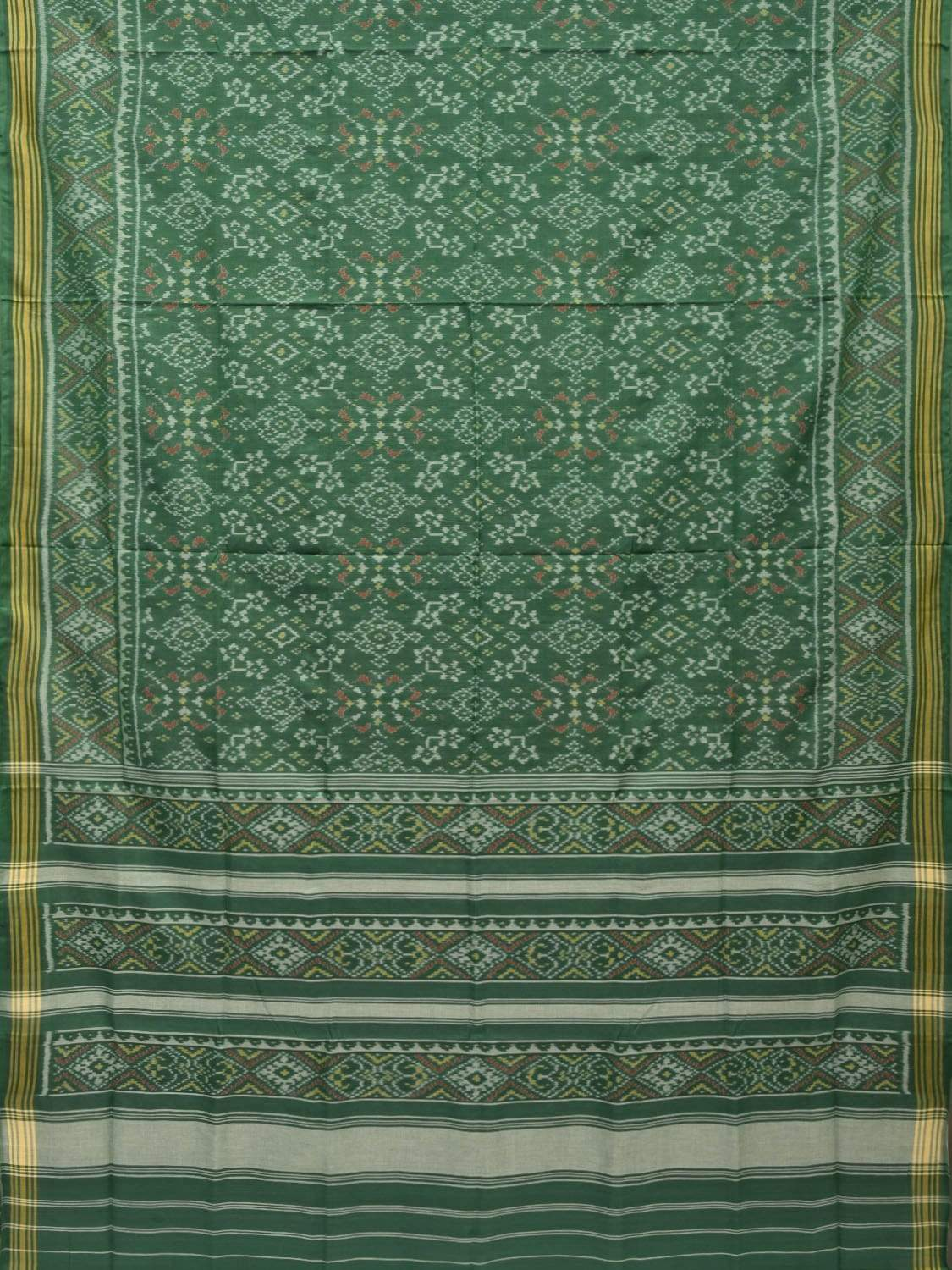 Green Pochampally Ikat Cotton Handloom Saree with All Over Design i0550