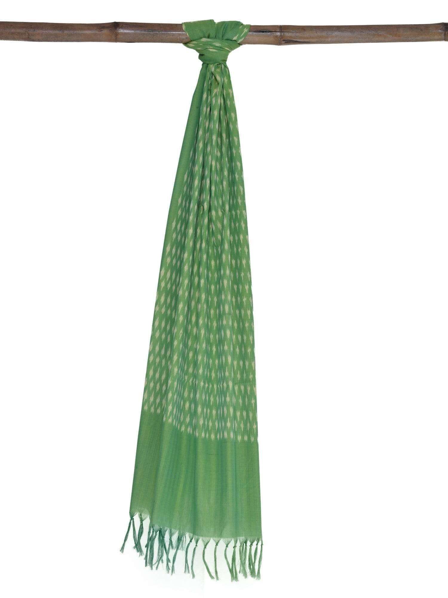 Green Pochampally Ikat Cotton Handloom Stole ds1652