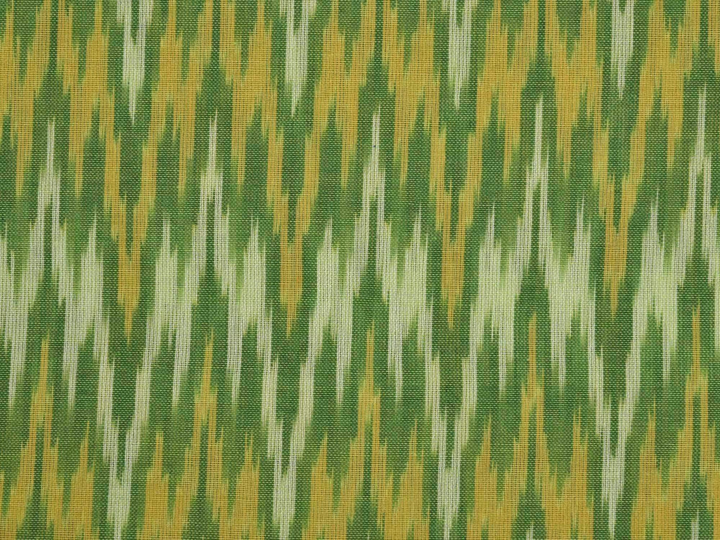 Green Single Ikat Cotton Handloom Fabric With Zig-Zag Design F0052
