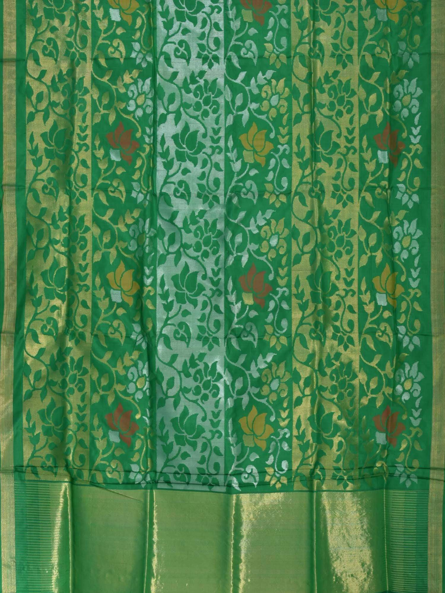 Green Uppada Silk Handloom Saree with All Over Lotus Design U1342