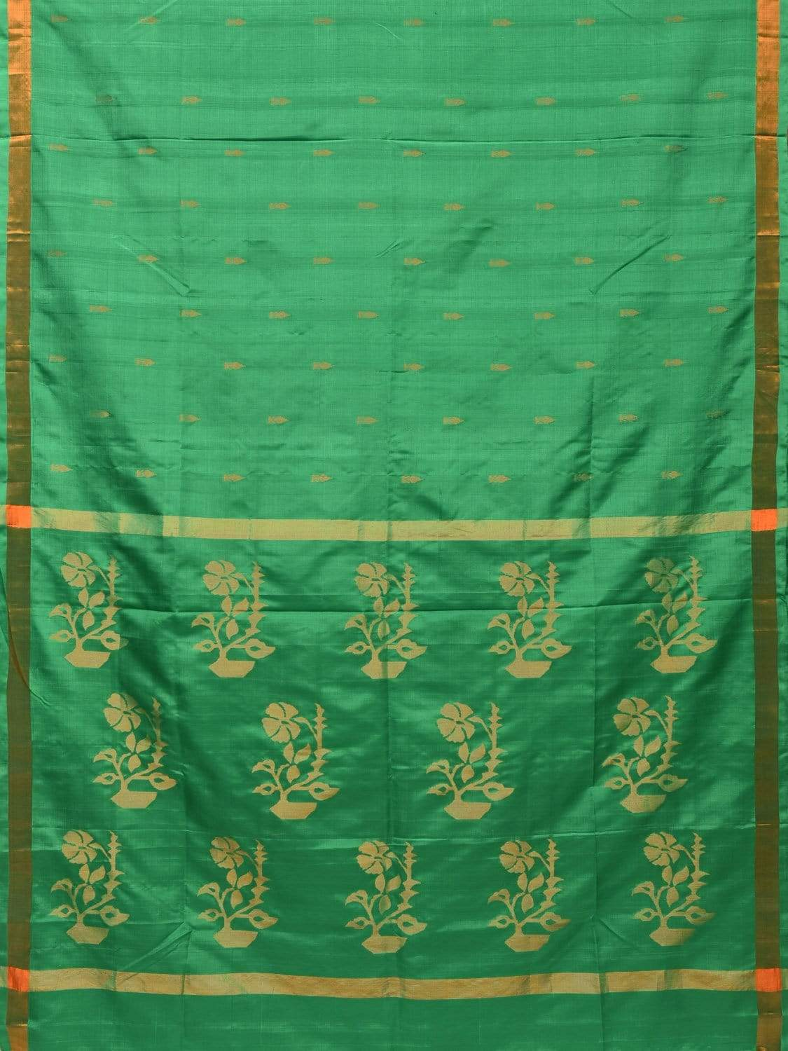 Green Uppada Silk Handloom Saree with Flower Pot Pallu Design u1633