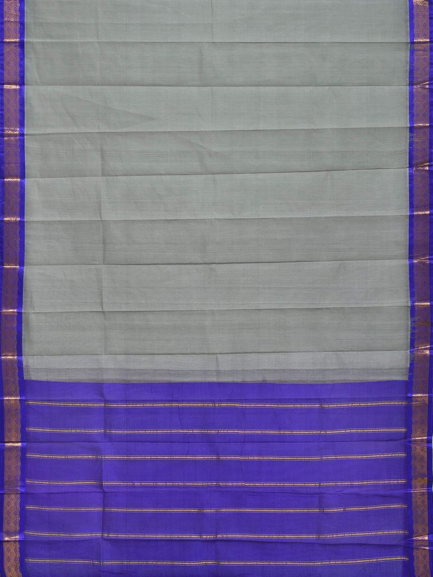 Grey and Blue Gadwal Cotton Handloom Plain Saree with Border Design No Blouse g0224