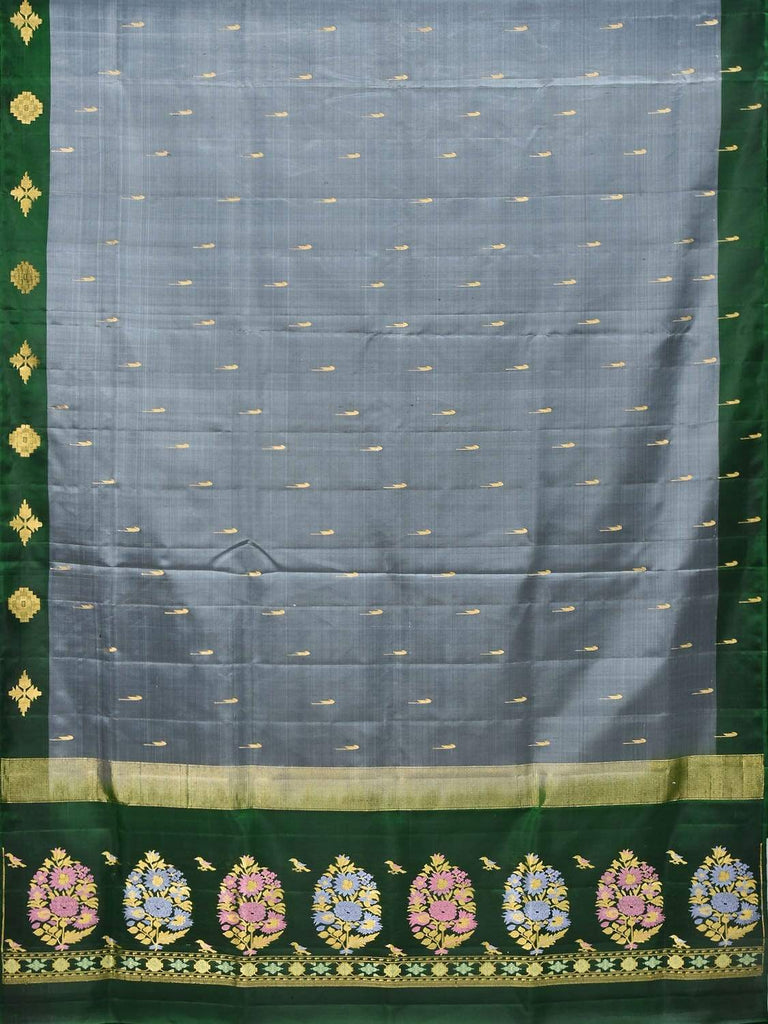 Grey and Green Silk Handloom Saree with One Side Border and Pallu Design O0257