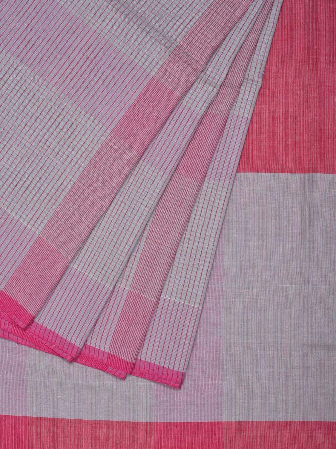 Grey and Pink Organic Cotton Handloom Saree with Small Checks Design o0262
