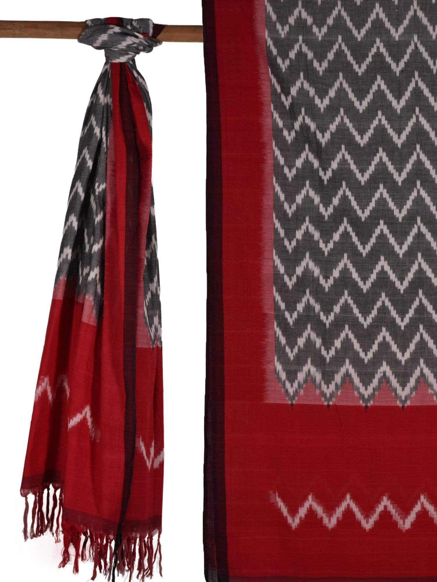 Grey and Red Pochampally Ikat Cotton Handloom Dupatta with Zig-Zag Design ds1527