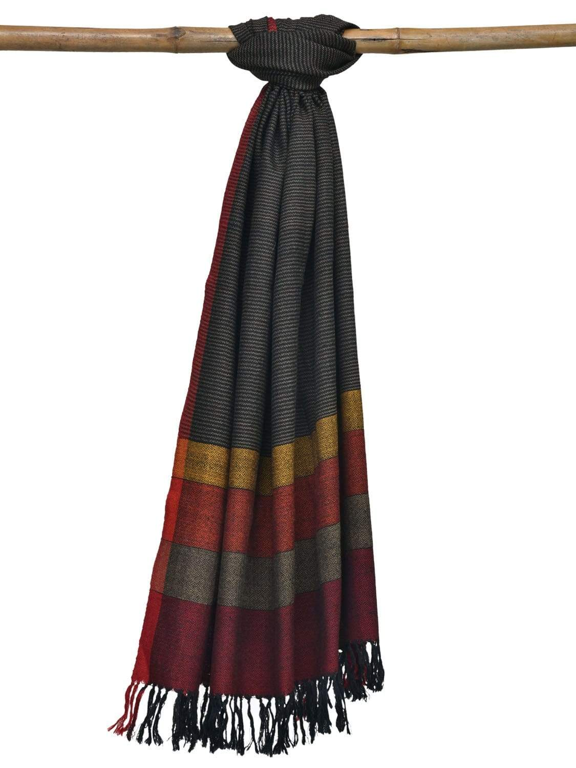 Grey Hand Woven Woolen Shawl Dupatta with Strips Design ds1859