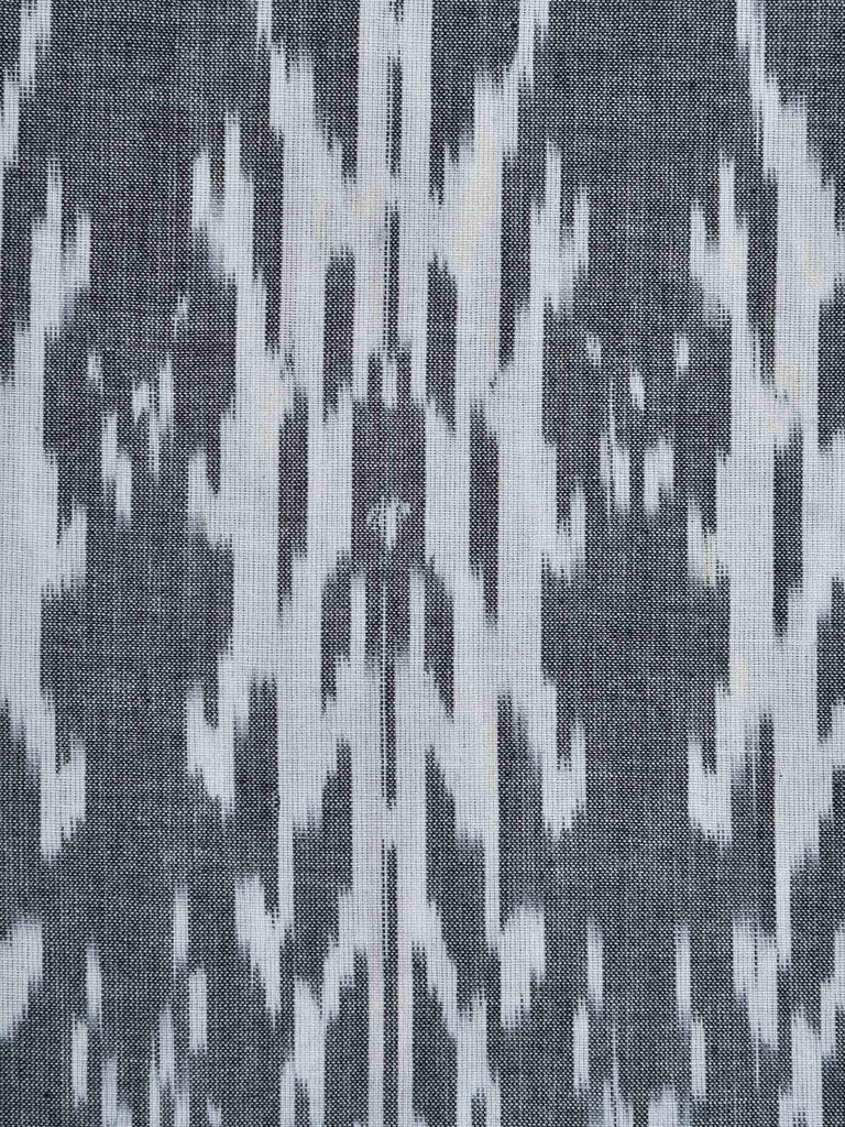 Grey Ikat Cotton Handloom Fabric With Abstract Design F0091