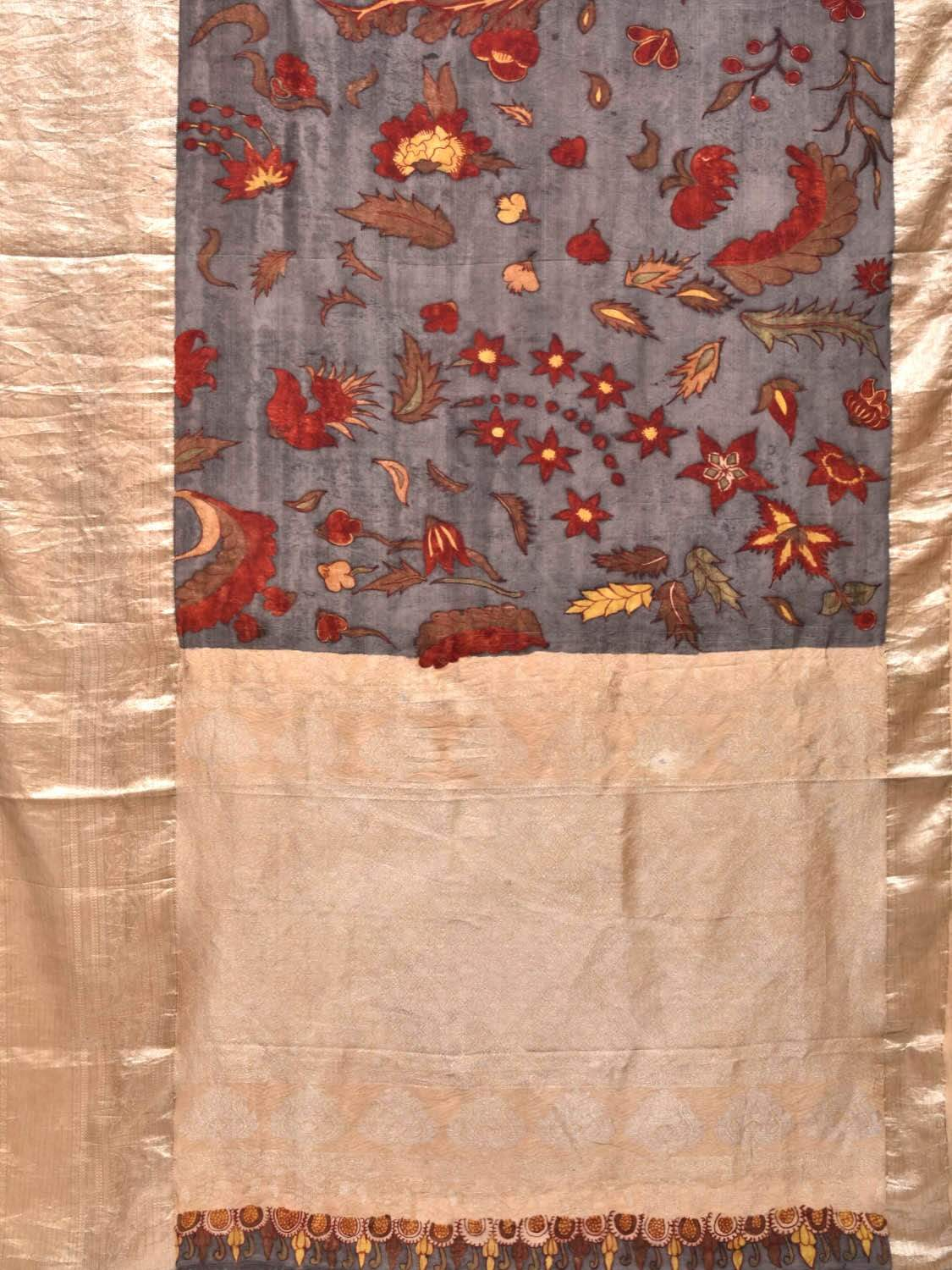 Grey Kalamkari Hand Painted Kanchipuram Silk Handloom Saree with Exotic Flowers Design KL0251